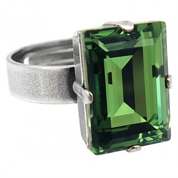 Damen-Ring Grün Kristall von Swarovski® Silber Größe Variabel NOBEL SCHMUCK