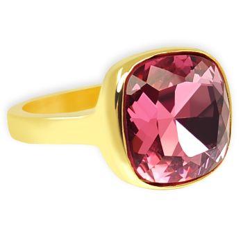 Ring Gold Pink Cocktailring mit Markenkristall NOBEL SCHMUCK