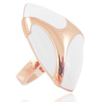 NOBEL SCHMUCK Damen-Ring Rosegold vergoldet Cocktailring Emaille weiß - modern opulent