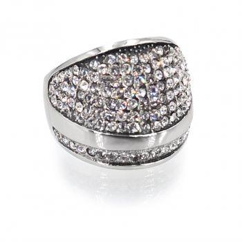 Damen-Ring Breit Silber mit Markenkristallen Crystal NOBEL SCHMUCK