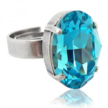 Ring mit Kristall von Swarovski® Silber Türkis NOBEL SCHMUCK