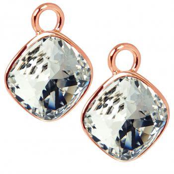 Charm Anhänger 2 Stück Rosegold 925 Sterling Silber für Creolen Swarovski Kristalle NOBEL SCHMUCK®