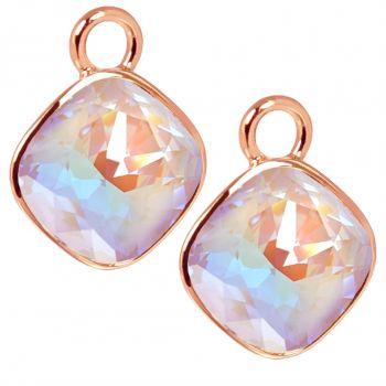 Rosegold Charm Anhänger 2 Stück 925 Sterling Silber Violett Swarovski Kristalle NOBEL SCHMUCK®