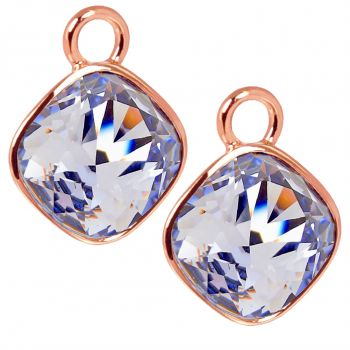 Rosegold Charm Anhänger 2 Stück 925 Sterling Silber Lila Swarovski Kristalle NOBEL SCHMUCK®