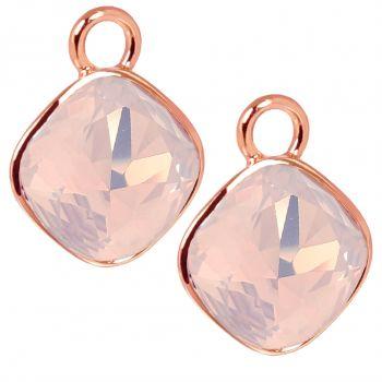 Rosegold Charm Anhänger 2 Stück 925 Sterling Silber Rosa Swarovski Kristalle NOBEL SCHMUCK®