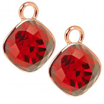 Rosegold Charm Anhänger 2 Stück 925 Sterling Silber Rot Swarovski Kristalle NOBEL SCHMUCK®
