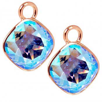Charm Anhänger 2 Stück Rosegold Blau 925 Sterling Silber für Creolen Swarovski Kristalle NOBEL SCHMUCK®