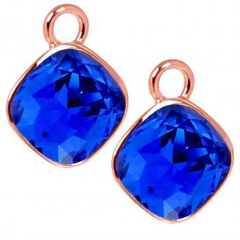 Rosegold Charm Anhänger 2 Stück 925 Sterling Silber Blau Swarovski Kristalle NOBEL SCHMUCK®