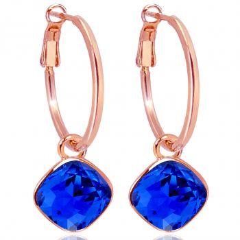 Rosegold Creolen Blau Charm Anhänger Markenkristalle Ohrringe 925 Sterling NOBEL SCHMUCK