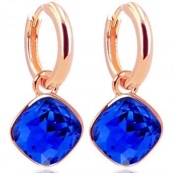 Rosegold Creolen Blau Charm Anhänger Markenkristallen Ohrringe 925 Sterling NOBEL SCHMUCK