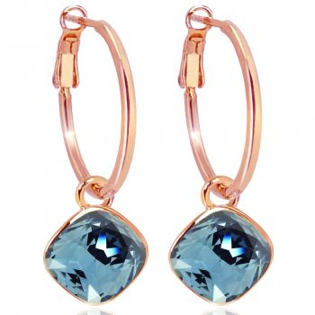 Rosegold Creolen Blau Charm Anhänger Swarovski® Kristalle Ohrringe 925 Sterling NOBEL SCHMUCK
