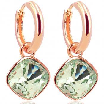 Rosegold Creolen Grün Charm Anhänger Markenkristallen Ohrringe 925 Sterling NOBEL SCHMUCK