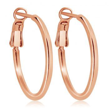 Rosegold-Creolen Ohrringe 925 Sterling 24 kt vergoldet Durchmesser 20 mm Klappverschluss NOBEL SCHMUCK®