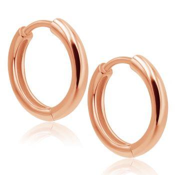 Rosegold-Creolen Ohrringe 925 Sterling 24 kt vergoldet Durchmesser 14 mm NOBEL SCHMUCK®
