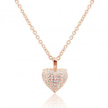 NOBEL SCHMUCK Damen-Kette Silber 925 Rosegold plattiert Herz Love Zirkon Halskette