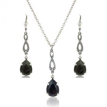 Schmuckset Silber mit Kristallen von Swarovski® Schwarz NOBEL SCHMUCK