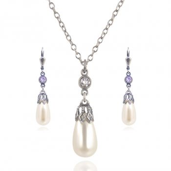 Schmuckset Perle mit Kristallen von Swarovski® Silber Cream Pearl NOBEL SCHMUCK