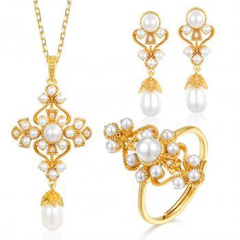 Romantisches Schmuckset Gold 925 Sterling Silber Perlen Nobel