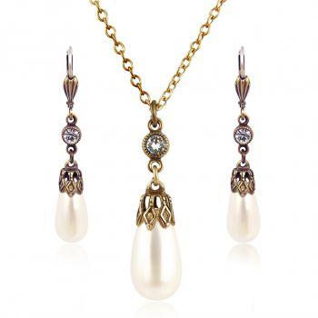 Schmuckset Perle mit Kristallen von Swarovski® Gold Viele Farben NOBEL SCHMUCK