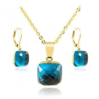 Schmuckset Blau Gold mit Kristallen von Swarovski® Indicolite NOBEL SCHMUCK