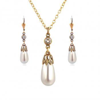 Schmuckset Perle mit Kristallen von Swarovski® Grau Gold NOBEL SCHMUCK