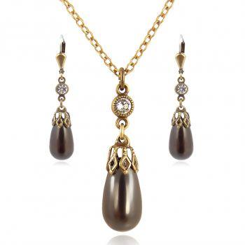 Schmuckset Perle mit Kristallen von Swarovski® Gold Black Pearl NOBEL SCHMUCK