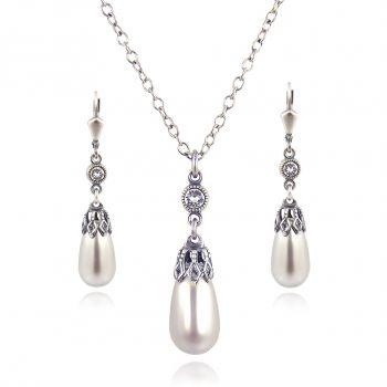 Schmuckset Perle mit Kristallen von Swarovski® Silber Grau NOBEL SCHMUCK