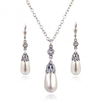 Schmuckset Perle mit Kristallen von Swarovski® Silber VIELE FARBEN NOBEL SCHMUCK