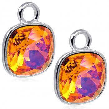 Charm Anhänger 2 Stück 925 Sterling Silber Orange für Creolen Swarovski Kristalle NOBEL SCHMUCK®