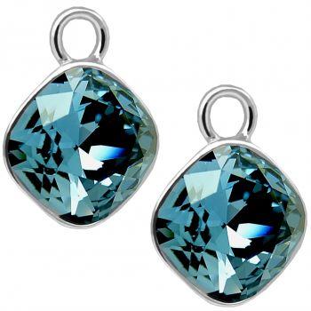 Charm Anhänger 2 Stück 925 Sterling Silber Denim Blue für Creolen Markenkristalle NOBEL SCHMUCK®