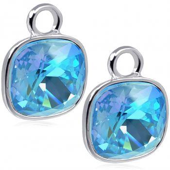 Charm Anhänger 2 Stück 925 Sterling Silber Blau für Creolen Markenkristalle NOBEL SCHMUCK®