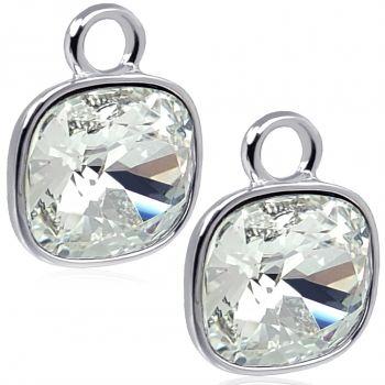 Charm Anhänger 2 Stück 925 Sterling Silber für Creolen Swarovski Kristalle NOBEL SCHMUCK®