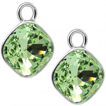 Charm Anhänger 2 Stück 925 Sterling Silber Grün für Creolen Markenkristalle NOBEL SCHMUCK®