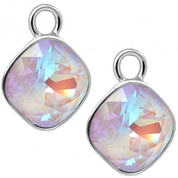 Charm Anhänger 2 Stück 925 Sterling Silber Violett für Creolen Markenkristalle NOBEL SCHMUCK®
