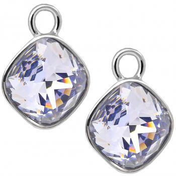 Charm Anhänger 2 Stück 925 Sterling Silber Lila für Creolen Markenkristalle NOBEL SCHMUCK®