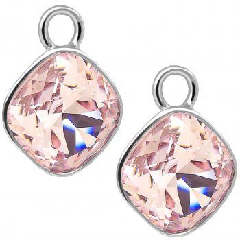 Charm Anhänger 2 Stück 925 Sterling Silber Rosa für Creolen Swarovski Kristalle NOBEL SCHMUCK®