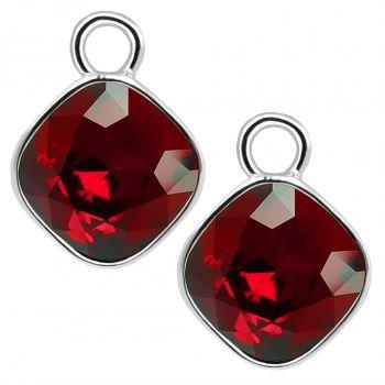 Charm Anhänger 2 Stück 925 Sterling Silber Rot für Creolen Swarovski Kristalle NOBEL SCHMUCK®