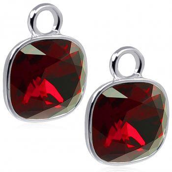Charm Anhänger 2 Stück 925 Sterling Silber Rot für Creolen Markenkristalle NOBEL SCHMUCK®
