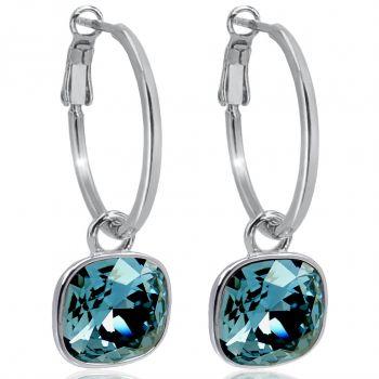 Silber-Creolen 925 Sterling Silver Anhänger mit Markenkristallen Denim Blue Ohrringe NOBEL SCHMUCK