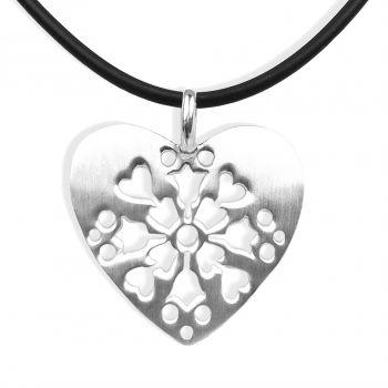 NOBEL SCHMUCK Damen-Kette Herz 925 Sterling Silber Halskette mit Anhänger