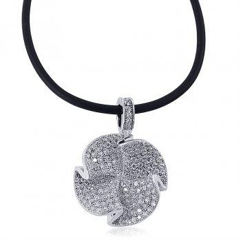 Damen-Kette Halskette Silber Kleeblatt 925 Sterling Zirkon NOBEL SCHMUCK