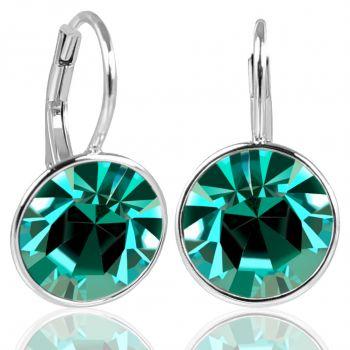 925 Silberohrringe Grün mit Kristallen von Swarovski® Blue Zircon NOBEL SCHMUCK