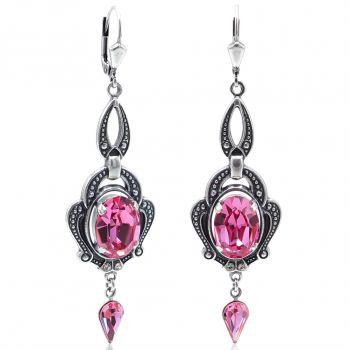 Jugendstil Ohrringe Rosa Silber mit Kristallen von NOBEL SCHMUCK