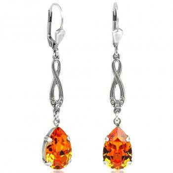 Jugendstil Ohrringe mit Kristallen von Swarovski® Silber Orange Tangerine NOBEL SCHMUCK