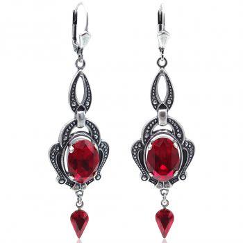 Jugendstil Ohrringe Rot Silber mit Kristallen von Swarovski® NOBEL SCHMUCK