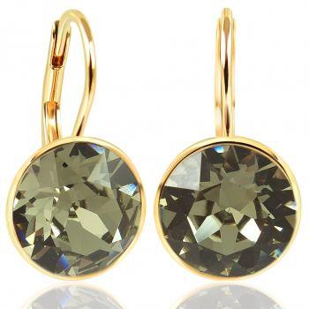 Kurze Ohrhänger Gold mit Kristallen von Swarovski® 925 Sterling Silber NOBEL SCHMUCK