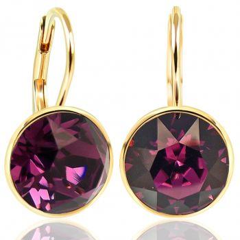 NOBEL SCHMUCK Ohrringe Gold Amethyst mit Kristallen von Swarovski® 925 Sterling - schlicht modern