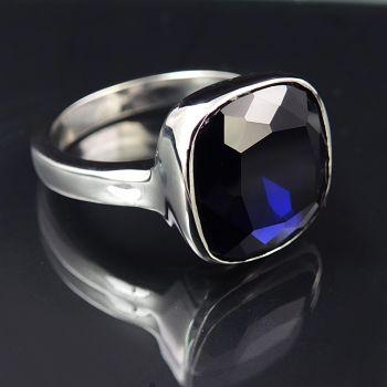 Ring Silber Blau Cocktailring mit Kristall von Swarovski® NOBEL SCHMUCK