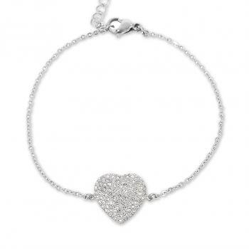 Damen-Armband Herz mit Kristallen von Swarovski® Silber NOBEL SCHMUCK