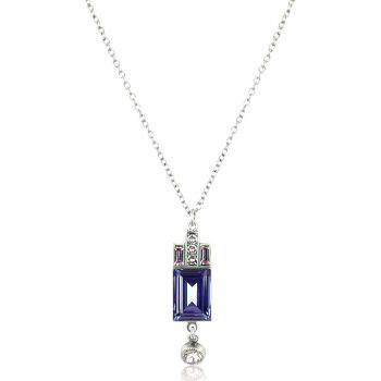Artdeco Halskette Silber Lila mit Kristallen von Swarovski® NOBEL SCHMUCK